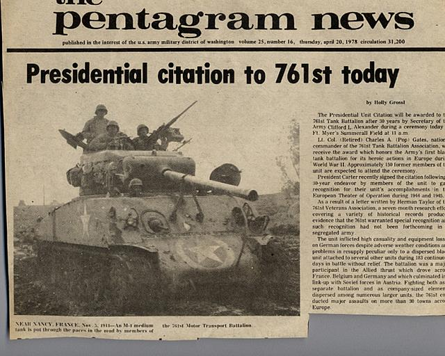 Pentagram News release of the Presidential Citation to the 761st Tank Battalion